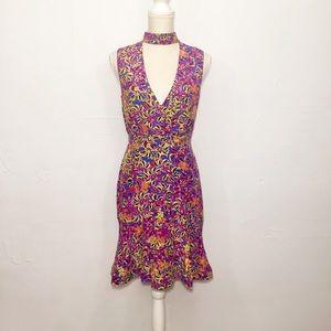 Saloni Fleur Silk Dress Bubblegum Begonia Print